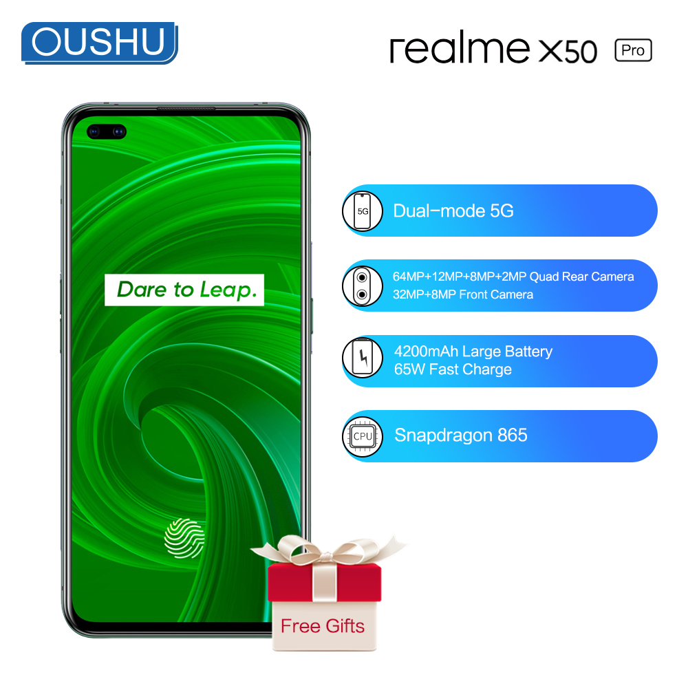 2020 Newest Realme X50 Pro Dual-Mode 5G Mobile Phone 12G 256G 4200mAh Big Battery 65W Flash Charge 64MP 6.4'' Screen Cellphone