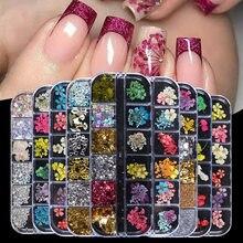 Nail Art высушенный цветок для ногтей с блестками Горячая украшения для ногтей сухоцветов Размеры сушенный цветочный Стразы смешанные гель дл...