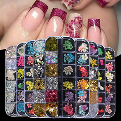 Nail Art Dried Flower Nail Sequins Hot Nail Jewelry Immortal Flower Size Dried Flower Rhinestones Mixed Nail Supplies Nails
