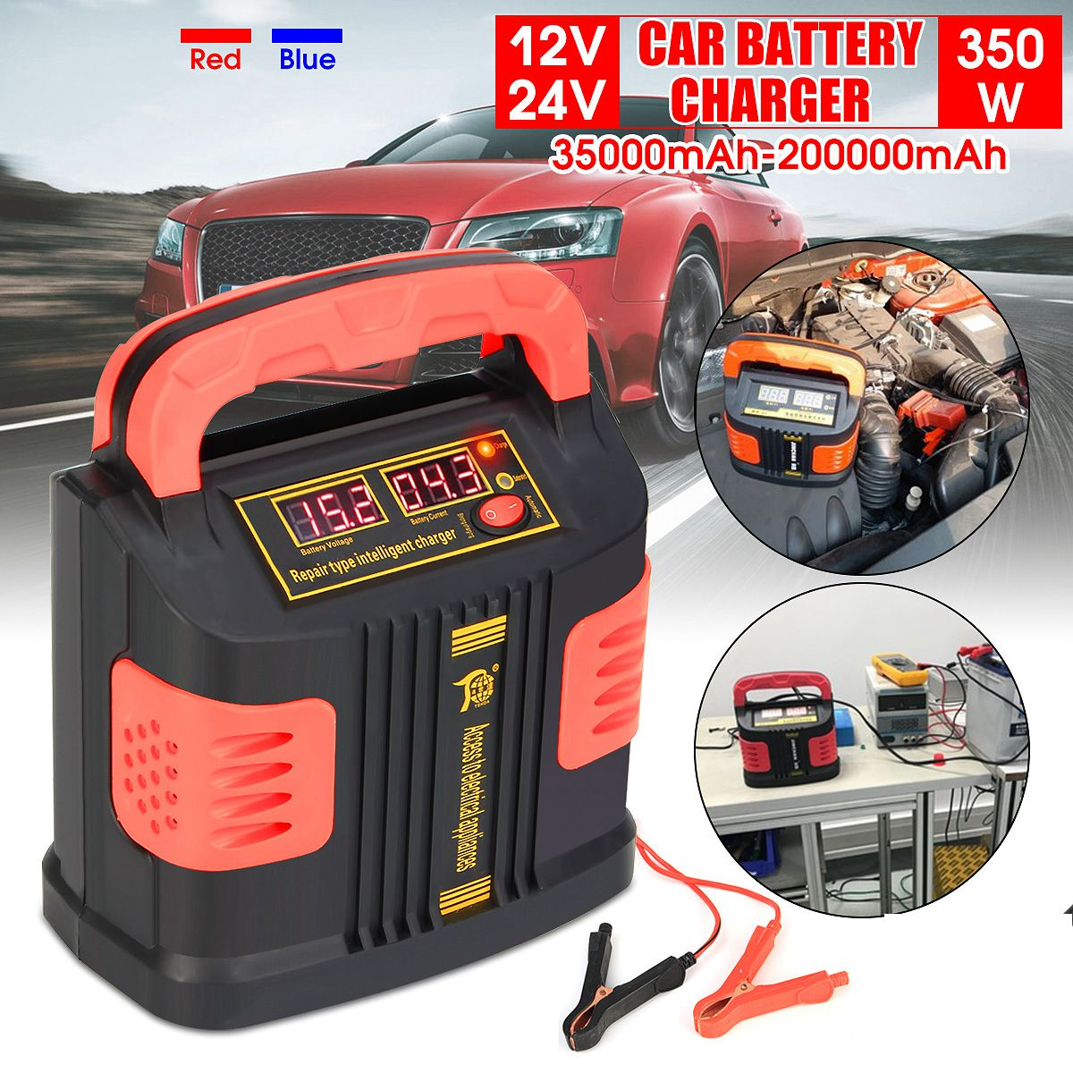 350W 12V/24V 200Ah Portable Electric Car Battery Charger Booster Intelligent Pulse Repair Type LCD Battery Fast Charge 2 Modes