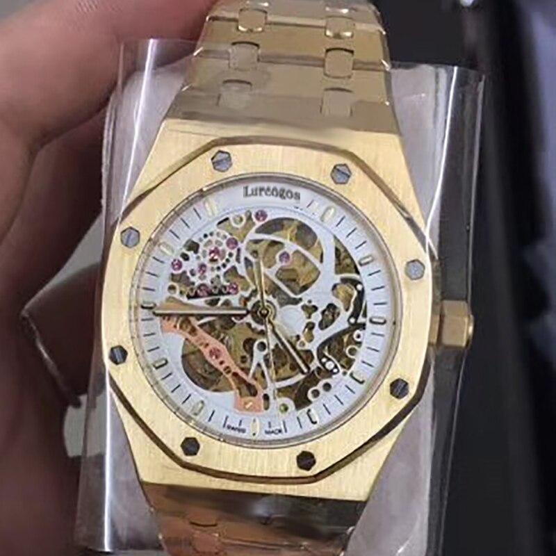 Luxus Marke Neue Automatische Mechanische rose gold Männer Uhr Sapphire Glas Transparent Skelett Gold Tourbillon Uhren AAA + - 3