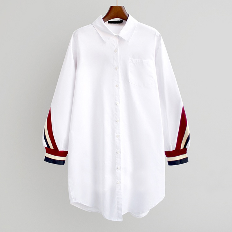 2021 White Oversized Button Up Stripe Bandage Shirts Women Blouses Turn-Down Collar Woven Long Sleeve Plus Size Ladies Tops