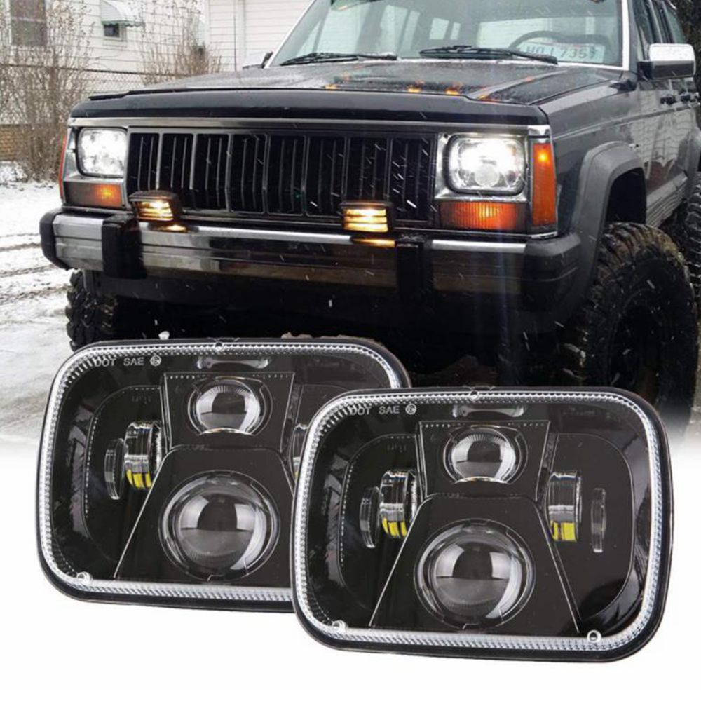5X7 inch Sealed Beam 55W <font><b>LED</b></font> Headlight off road <font><b>Truck</b></font> <font><b>headlamps</b></font> Working Light for Ford Jeep Wrangler YJ Cherokee XJ H6014 H6054 image