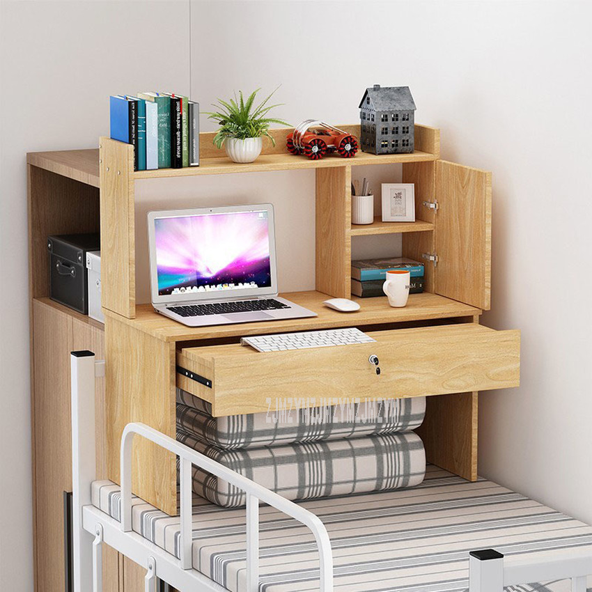 Laptop Computer Table On Bed With Drawer Lock Wood Dormitory Desk Bedroom Bed Book Storage Cabinet Floating Window Table