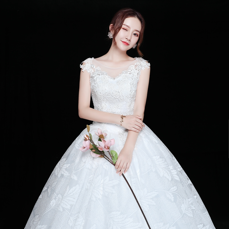 V Neck Cap Sleeve Wedding Dress Lace Leaf Foliage Princess Slim Bridal Gowns Vestidos De Novia Formal Corset Sexi Wed Bride in Wedding Dresses from Weddings Events