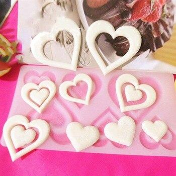 Nuevo DIY 3D corazón patrón herramienta de torta de chocolate molde cubitos de hielo bandeja galleta forma de caramelo molde de silicona pastel Fondant Cupcake Decorati