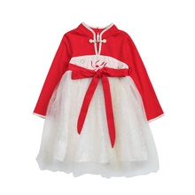 3-8T Baby Girl Dress Children Autumn Girls Chinese Style Mesh Stitching Floral Embroidery Princess Long-Sleeved Sweet Dress #m autumn korean girls dress tide spring long sleeved dress sweater stitching children solid fashion slit dress for 3 7t