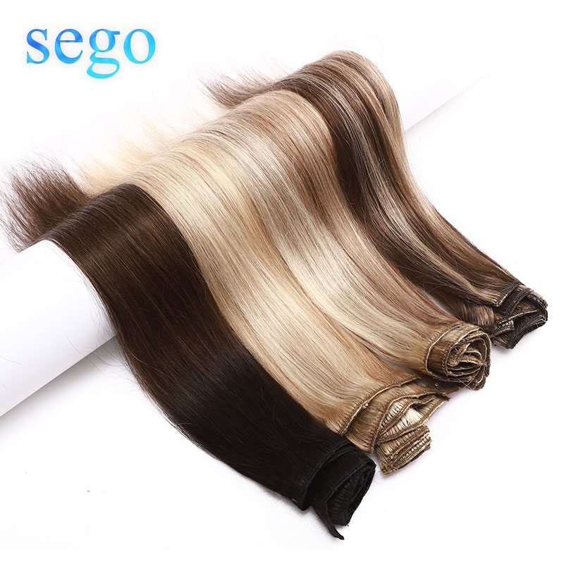 SEGO 8-24inch 8Pcs/Set Hair Clip In Human Hair Extensions Non-Remy Natural Hair 13 Colors No Tangle Brazilian Hair 25g-80g