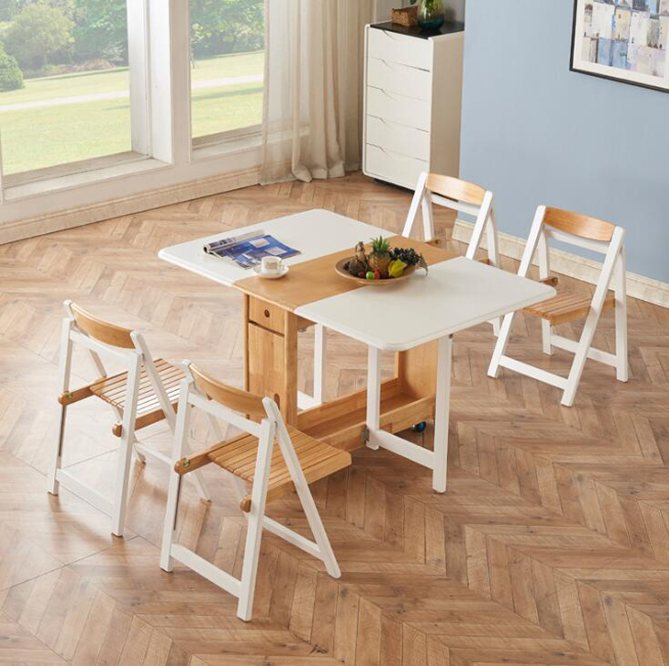 Nordic Solid Wooden Folding Dining Table Chair Set Modern Multifunctional Retractable Table Dining Chair 1 Table 4 Kitchen Chair Dining Tables Aliexpress