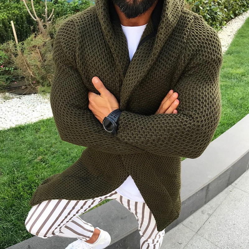 Men Hooded Sweater Cardigan Autumn Winter Hooded Knitted Coats Open Front Mens Hoodie Outwear Knitting Overcoat 2019