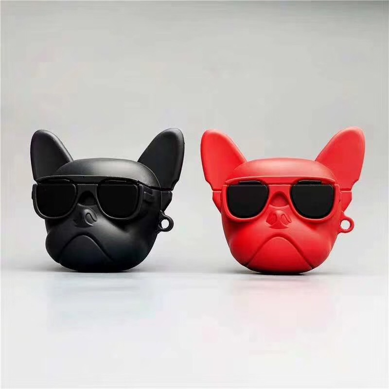 Cool Dog soft Silicone headset Case For AirPods 1/2 Earphone Charging Cover Bag with lanyard hook