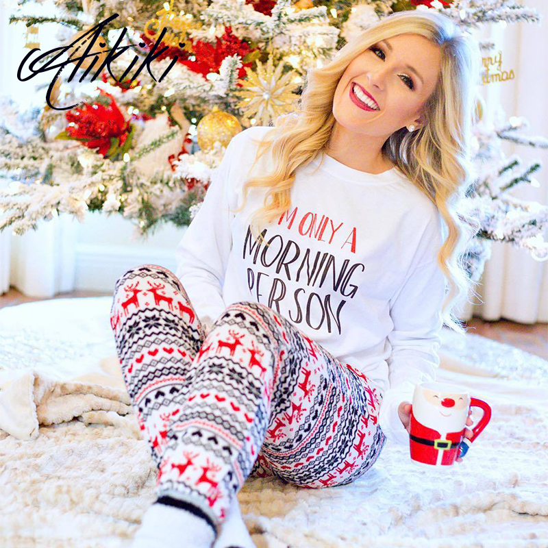 Warm Autumn Winter Women Christmas Letter Snow Print Girls Pajamas Sets Sleepwear Nightwear Loungewear Homewear Pijama Mujer