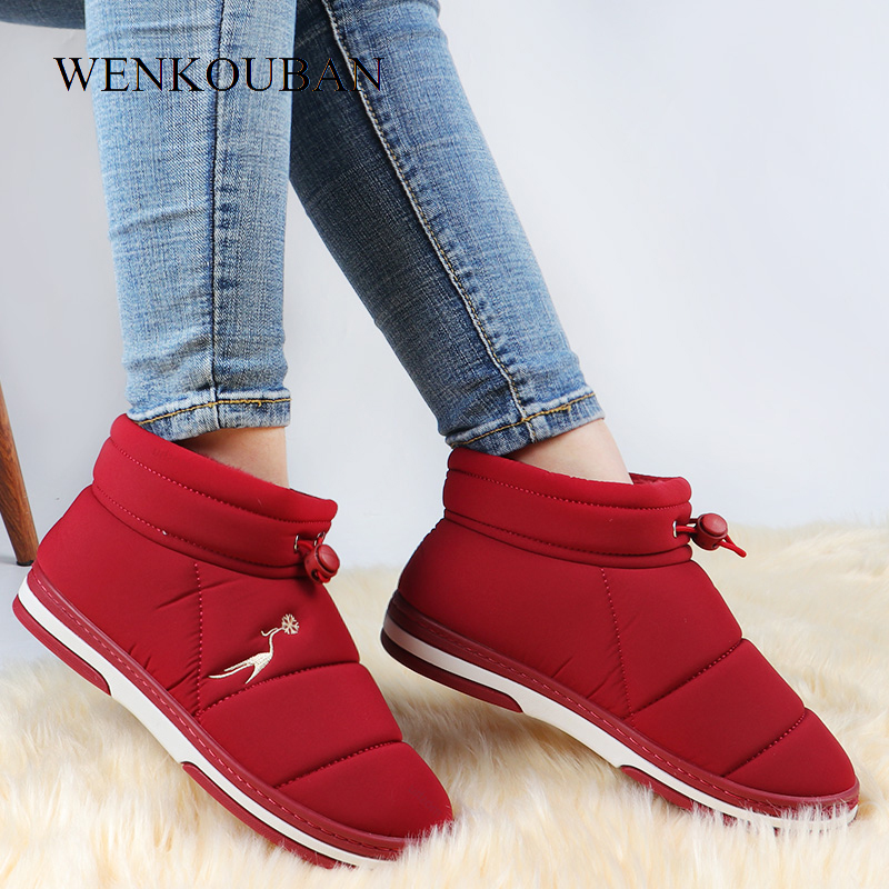 Winter Snow Boots Women Waterproof Ankle Boots Plush Indoor Shoes Warm Ladies Platform Boots Fur Slip On Botas Mujer Plus Size
