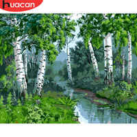 Huacan pintura por número floresta paisagem kits de desenho da lona pintados à mão presente diy imagens a óleo cenário decoração para casa