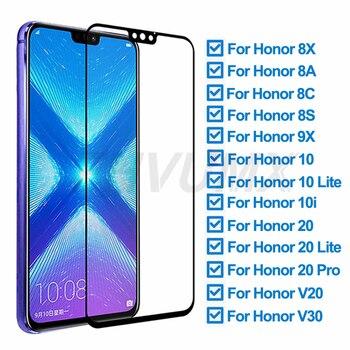Перейти на Алиэкспресс и купить Защитное стекло 9D для Huawei Honor 8X 8A 8C 8S 9X, Защита экрана для Honor 10 Lite 20 Pro 10i V20 V30, закаленное стекло, пленка