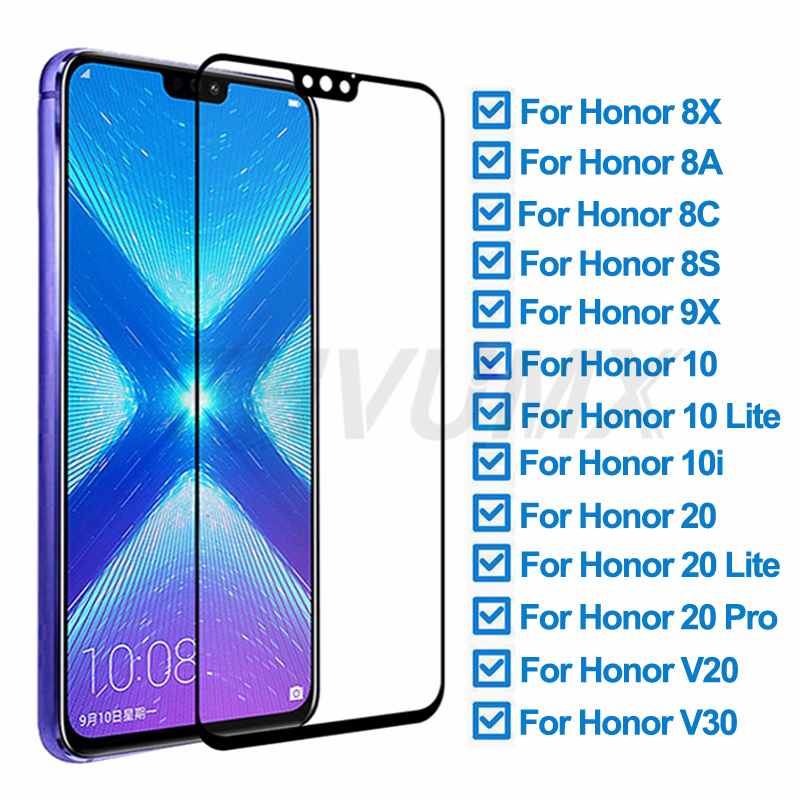 9D Protective Glass On For Huawei Honor 8X 8A 8C 8S 9X Screen Protector For Honor 10 Lite 20 Pro 10i V20 V30 Tempered Glass Film