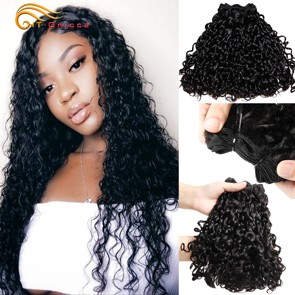 Peruvian Double Drawn Remy Hair 3pcs Pixie Curl Funmi Hair Weaves 100% Human Hair Pissy Curl Hair Extensions For Black Women