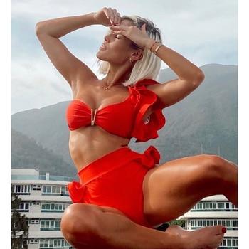 Two-Pieces Women Floral 2021 Push-Up Padded Bra Ruffles Bandage Bikini Set Swimsuit Swimwear Bathing Suit Beachwear Biquini 5