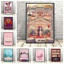 Clássico filme o grand budapest hotel pintura arte decoro decoração de casa cartaz sala estar decoração da parede qualidade lona a810
