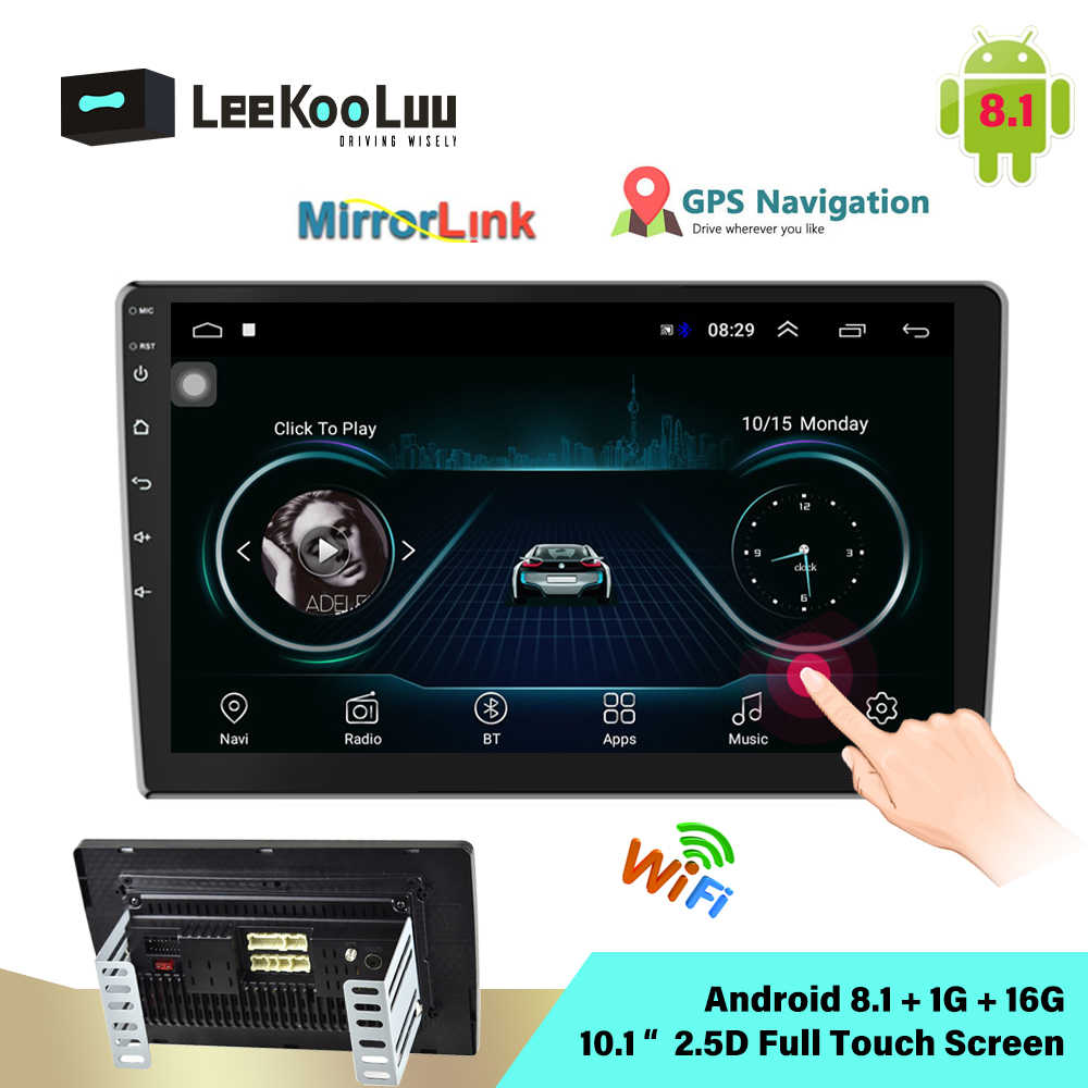 LeeKuuLoo Android 8,1 2Din Radio de coche de 10,1 pulgadas 2.5D Central Multimedia MP5 reproductor de vídeo Universal Autoradio GPS Bluetooth Wifi