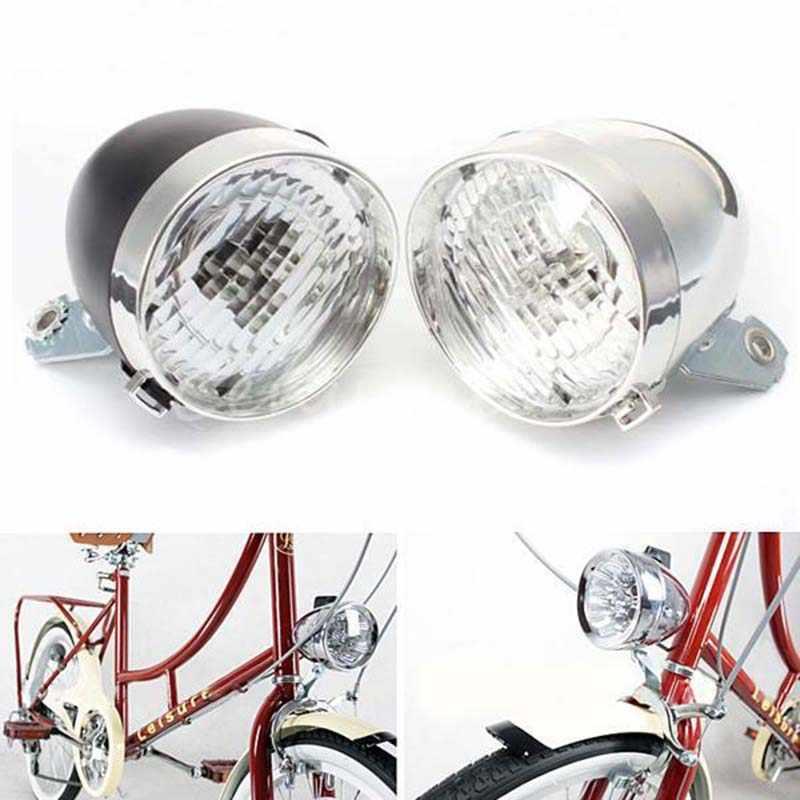 Retro Vintage Bicycle 3LED Front Light Headlight Safety Warning Night Light 20