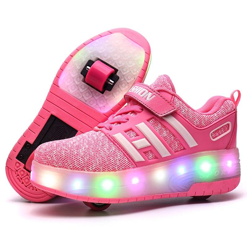 Детская обувь для скейтбординга Heelys ролики с подсветкой скейт обувь Дети patines de 4 ruedas patins мальчик девочка роликовые коньки светящиеся туфли со светодиодами кроссовки - Цвет: Розовый