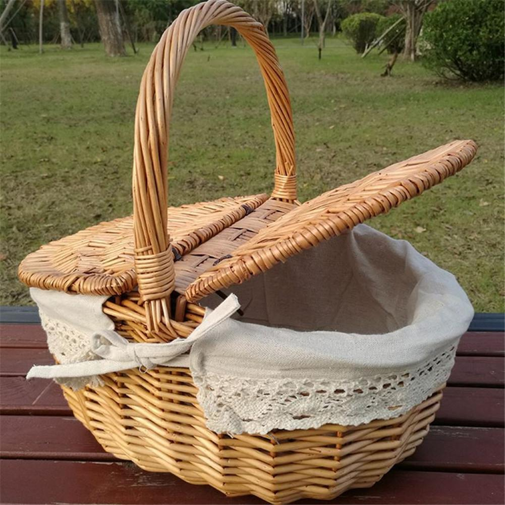 Wicker Willow Woven Picnic Basket  Hamper As Shopping Bag With Lid And Handle Camping Picnic Shopping Food Fruit Picnic Basket