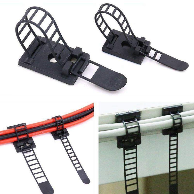 50 pces 2 tamanhos ajustável auto-adesivo cabo de náilon cintas cabo laços cabo braçadeira para a gestão do fio, grande e pequeno