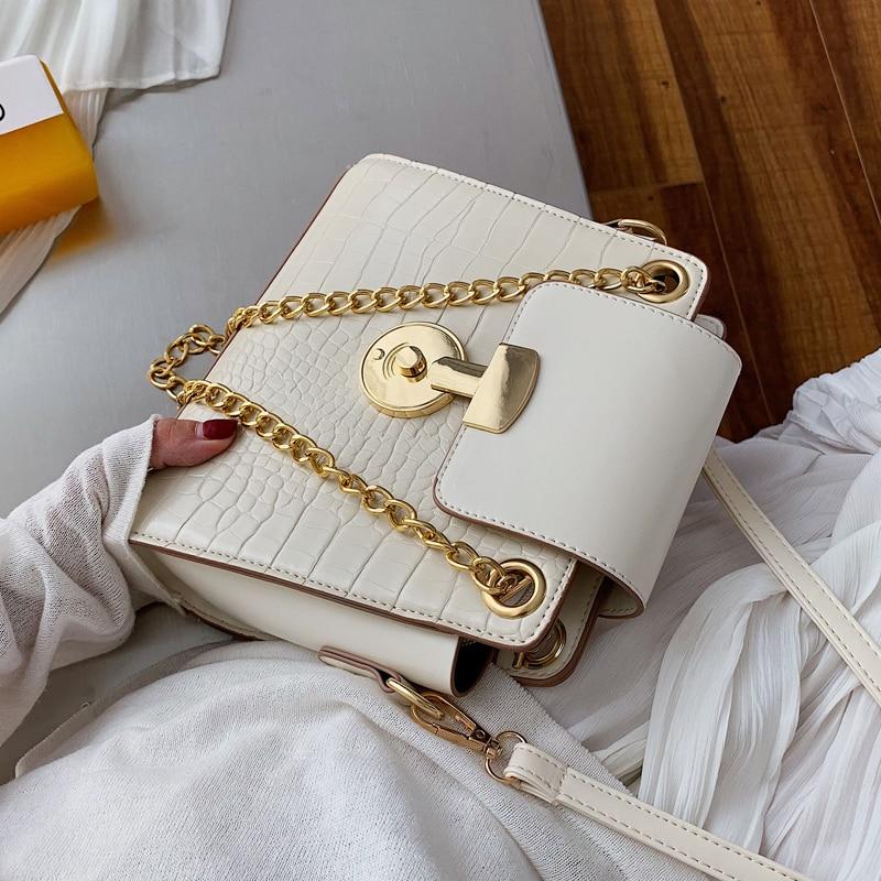 Elegant Female Crocodile Pattern Tote Bag 2019 New High Quality PU Leather Women's Designer Handbag Chain Shoulder Messenger Bag