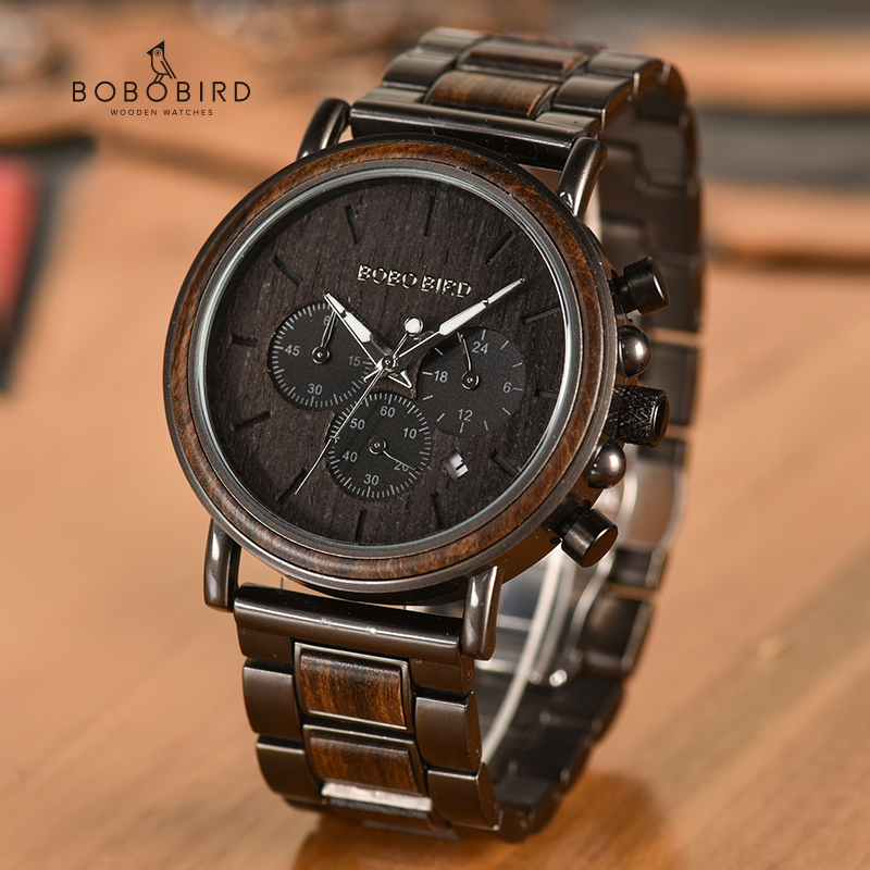 BOBO BIRD Date Display Wood Watches Luxury Stylish Watch Wood  Metal Strap New Design Timepieces C-Q26-1