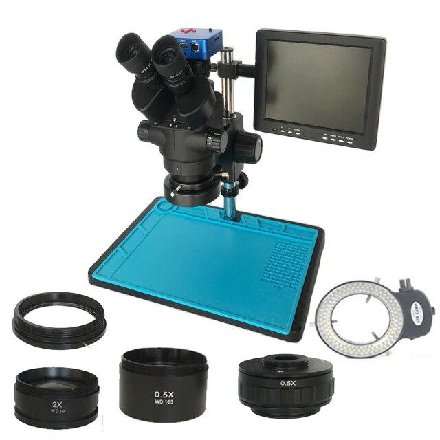 3.5X 90X lehimleme trinoküler stereo mikroskop + SMD 38MP HDMI dijital USB Video kamera + LCD 8 inç PCB monitör + 144 Led ışıkları