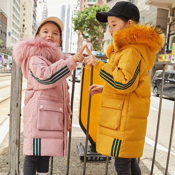 Children's down Jacket Girls Mid-length Women's Big Kid New Style Korean-style Thick White Duck down Children's Clothing