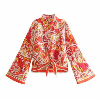 Za kobiety lato wiązane kwiatowy druku koszula 2021 z długim rękawem asymetryczny Hem klasyczne koszulki elegancka z guzikami kobieta luźne bluzki tanie i dobre opinie UVRCOS CN (pochodzenie) POLIESTER REGULAR Lato 2021 średniej wielkości wyszywana Proste OZZ1141 z włókien syntetycznych