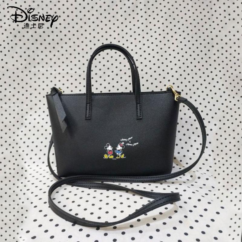 Disney Women Bag Mickey Minnie Mouse Shoulder Handbag Luxury Wild Leather  Zipper Sealing Shoulder Messenger Designer Tote Bag