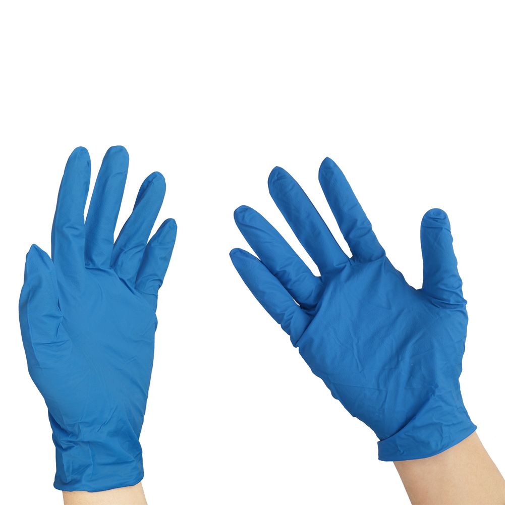 2 Pairs Blue Disposable Latex Gloves Laboratory Consumables Hospital Single-use Protective Gloves Experiment Supplies