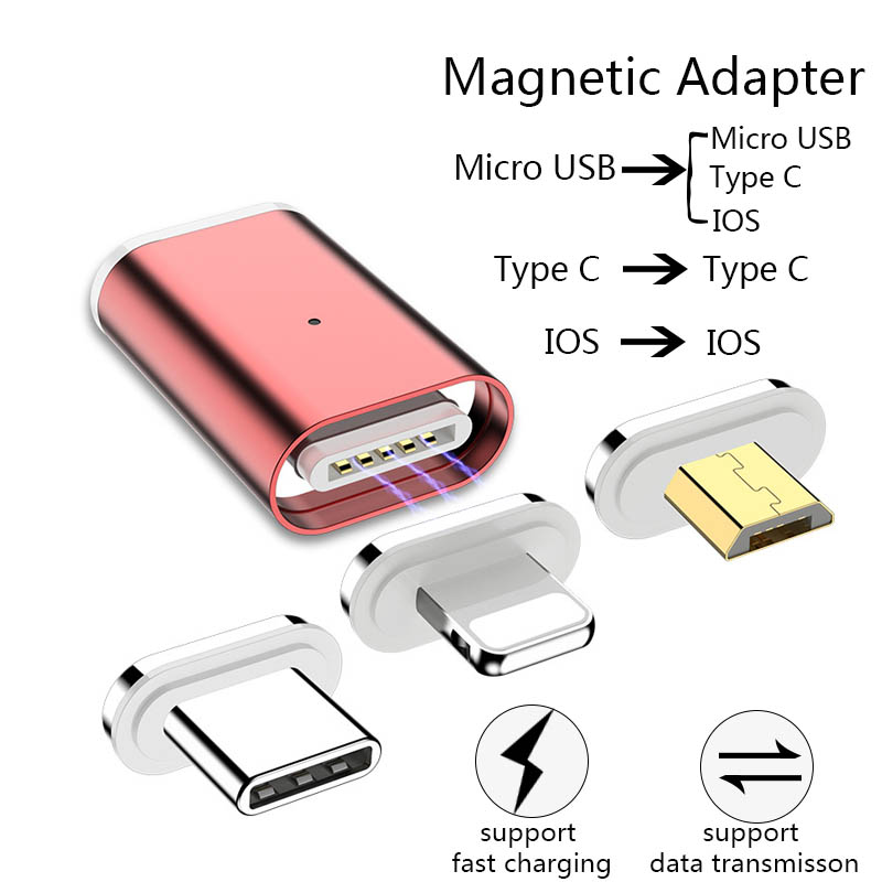 Magnetic Adapter For IPhone Android Type C Phone Data Sync Fast Charge Magnetic Converter Phone Adapter For Lighting To Type C