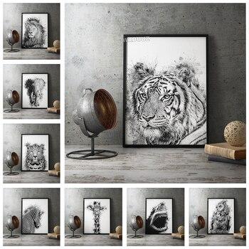 Estilo nórdico animal decorativo negro blanco León Tigre lechuza cebra pared arte sala de estar mural pintura de la lona de la vida K507