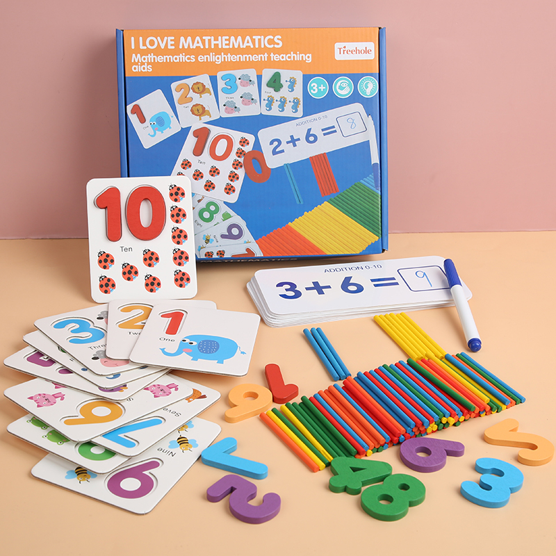 Monterssori Wood Math Toys Match Numbers Wooden Addition Subtraction Learning Card With Digitals Coungting Chips Education Toys