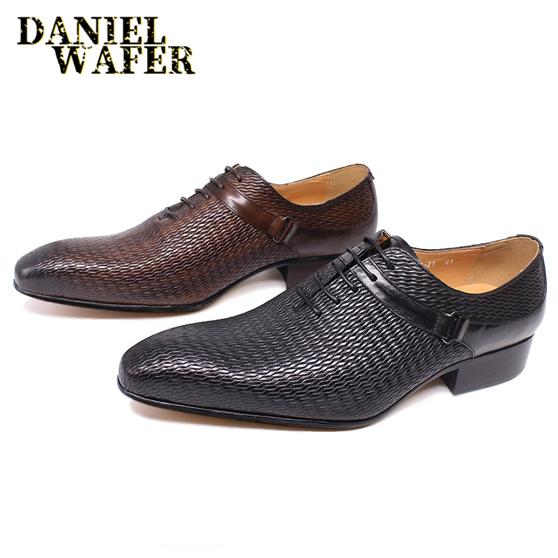 FASHION STYLE MEN DRESS LEATHER SHOES MAN FORMAL OFFICE WEDDING SHOES BLACK COFFEE LACE UP POINTED TOE HANDMADE OXFORD SHOES MEN
