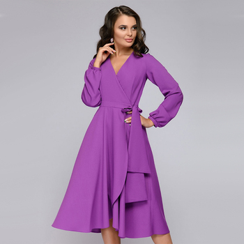 Women Vintage Sashes Bandage Office Dress Long Sleeve Sexy V neck Solid Casual A-line Party Dress 2019 Autumn New Fashion Dress 4