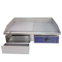Commercial Electric Griddle Hotplate Countertop Grillplatte Flat / Grooved BBQ Grill Teppanyaki Restaurant Kitchen Frying Pans