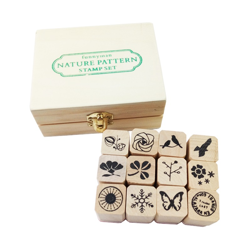 12 Pcs/set Kawaii Nature Pattern Stamps Sets Wooden Rubber Stamp For Scrapbooking Stationery Painting Cards Decor