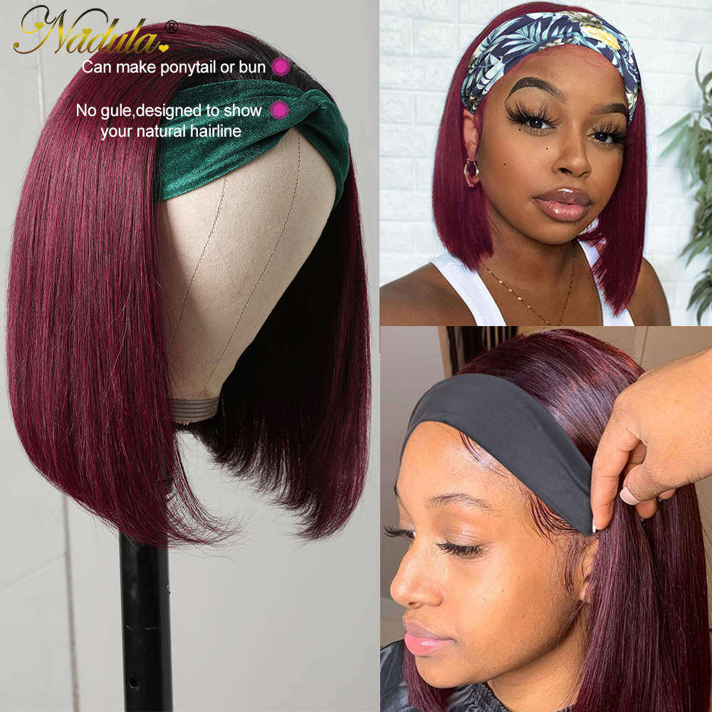 Nadula Short Bob  Wigs #1B99J Burgundy Headband Wig  10-14INCH BoB Headband Wigs for Women Natural Short Wig 5