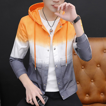 Fashion Men's Casual Coat Hooded Jacket Mixed Color Pockets Gradient Color Long Sleeve Spring Autumn Top Outwear E11