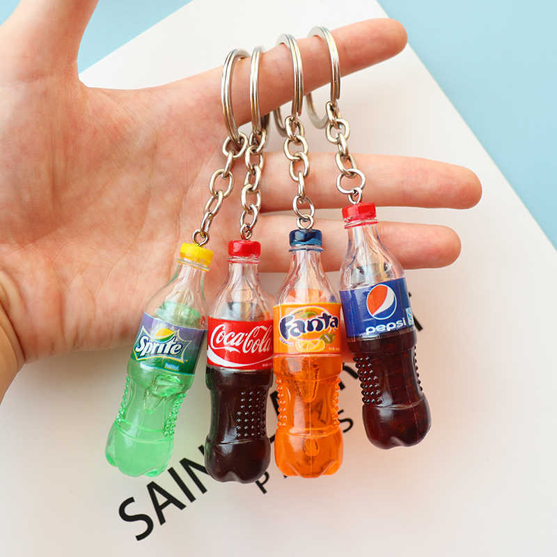 Fashion Drink Bottle Handmade Resin Charms Keychain Men Key Ring Chain Jewelry Women Bag Car Trinket Gift Souvenirs