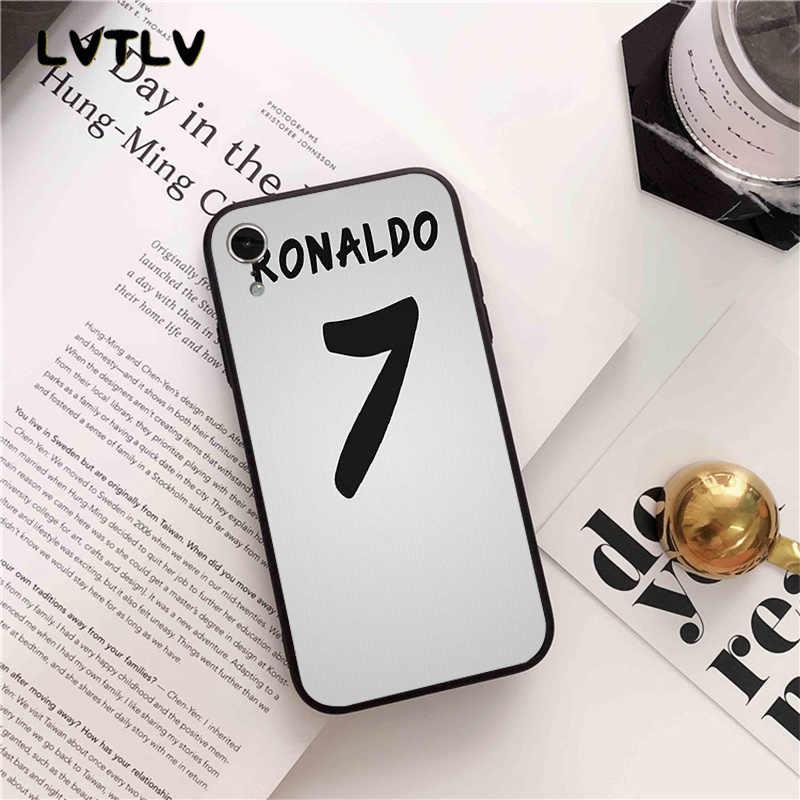 Lvtlv CR7 Logo Cristiano Ronaldo 7 Sepak Bola Tpu Hitam Ponsel Case Penutup Shell UNTUK iPhone 11 Pro XS MAX 8 7 6 6S Plus X 5 5S SE XR