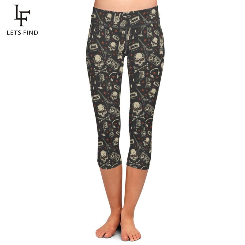 LETSFIND Summer New Arrival 3D Skull and Vintage Tape Print High Waist Plus Size Mid-Calf Leggings Fashion Women Capri Leggings