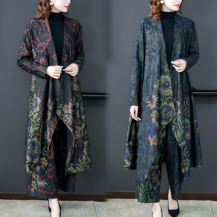 2019 Autumn And Winter Large Size Dress Literature And Art Retro Middle-aged Mom Set Jacket Loose-Fit Wide-Leg Two-Piece Set