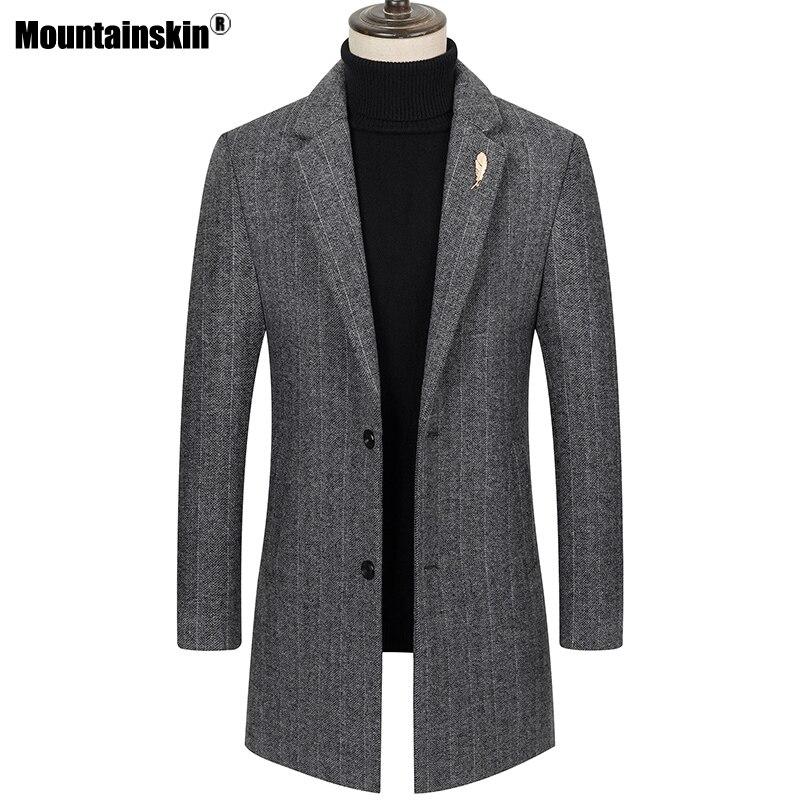 Mountainskin Mens Long Wool Coat Men Fashion Vertical Stripes Thick Coat Winter Autumn Casual Slim Fit Woolen Coat Male SA996