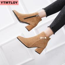 цена на Boots children's shoes fashion versatile high-heeled shoes with ankle boots ladies platform thick with short women's boots 2019